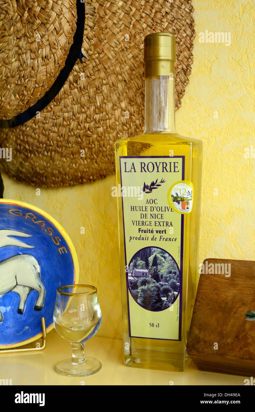 Olive Oil Bottle in Shop Window Grasse France - Stock Image