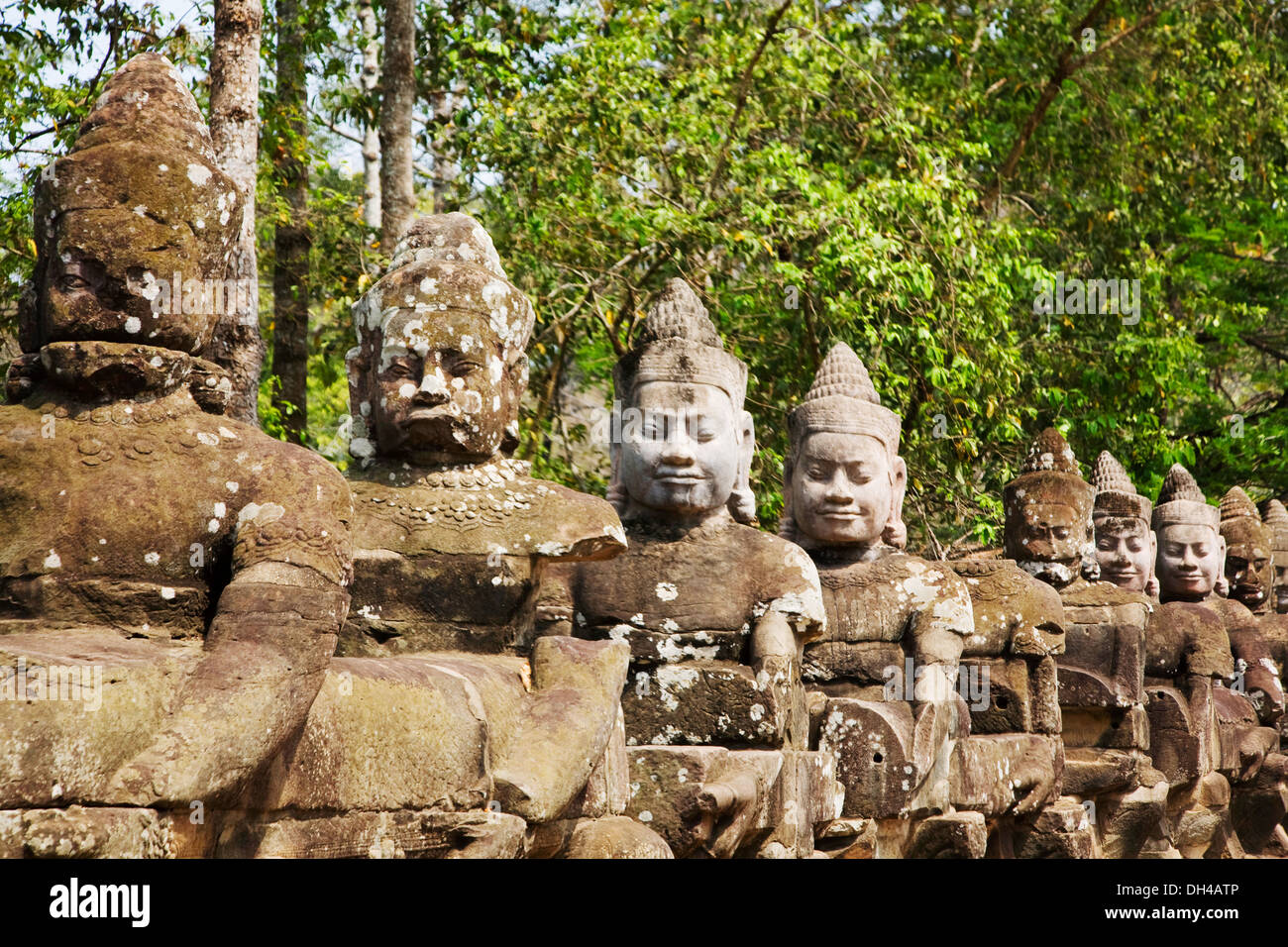 Statues in Angkor archeological site, Siem Reap, Cambodia - Stock Image
