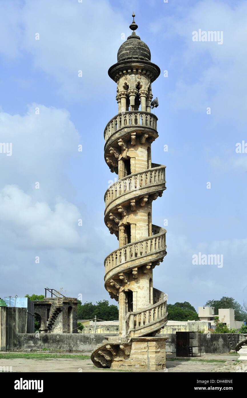 Spiralling stairways of Bahaudin maqbara at junagadh gujarat india Asia Stock Photo