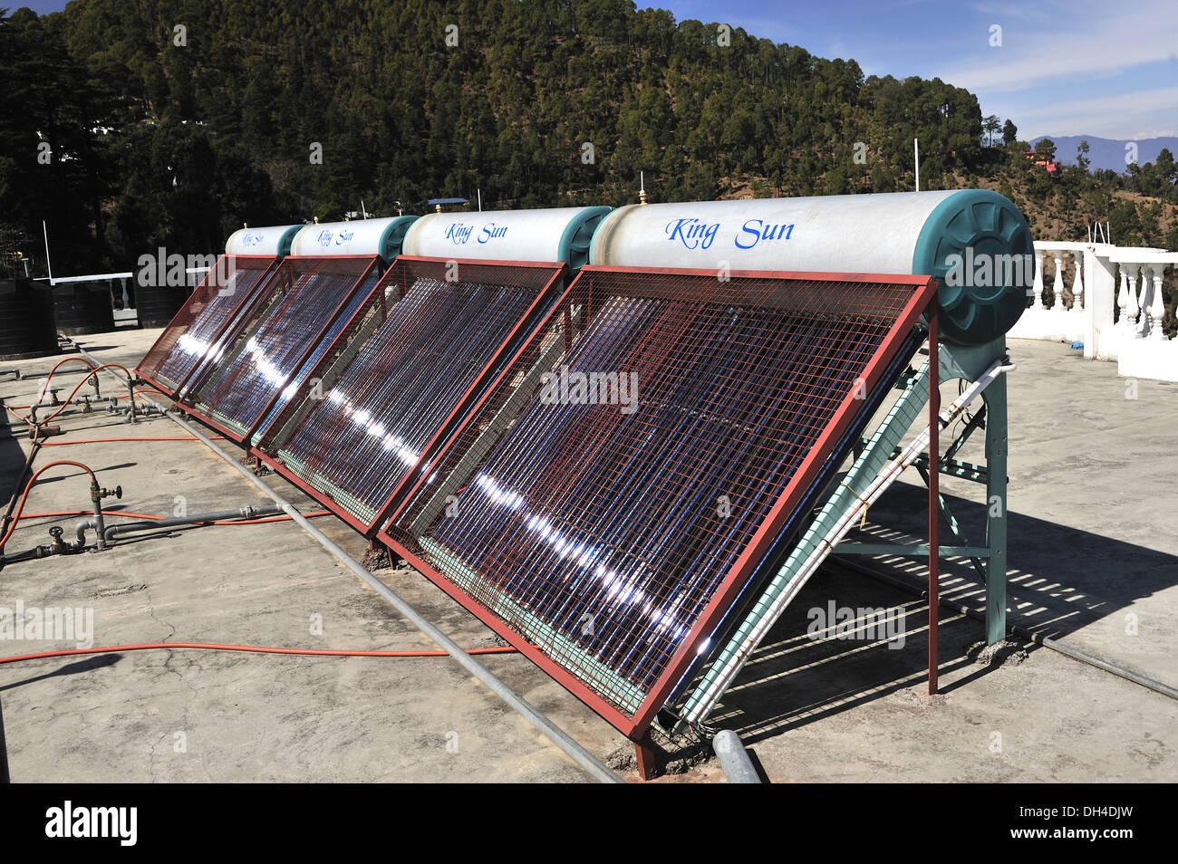 Solar panels on terrace at kausani bageshwar uttarakhand India Asia - Stock Image