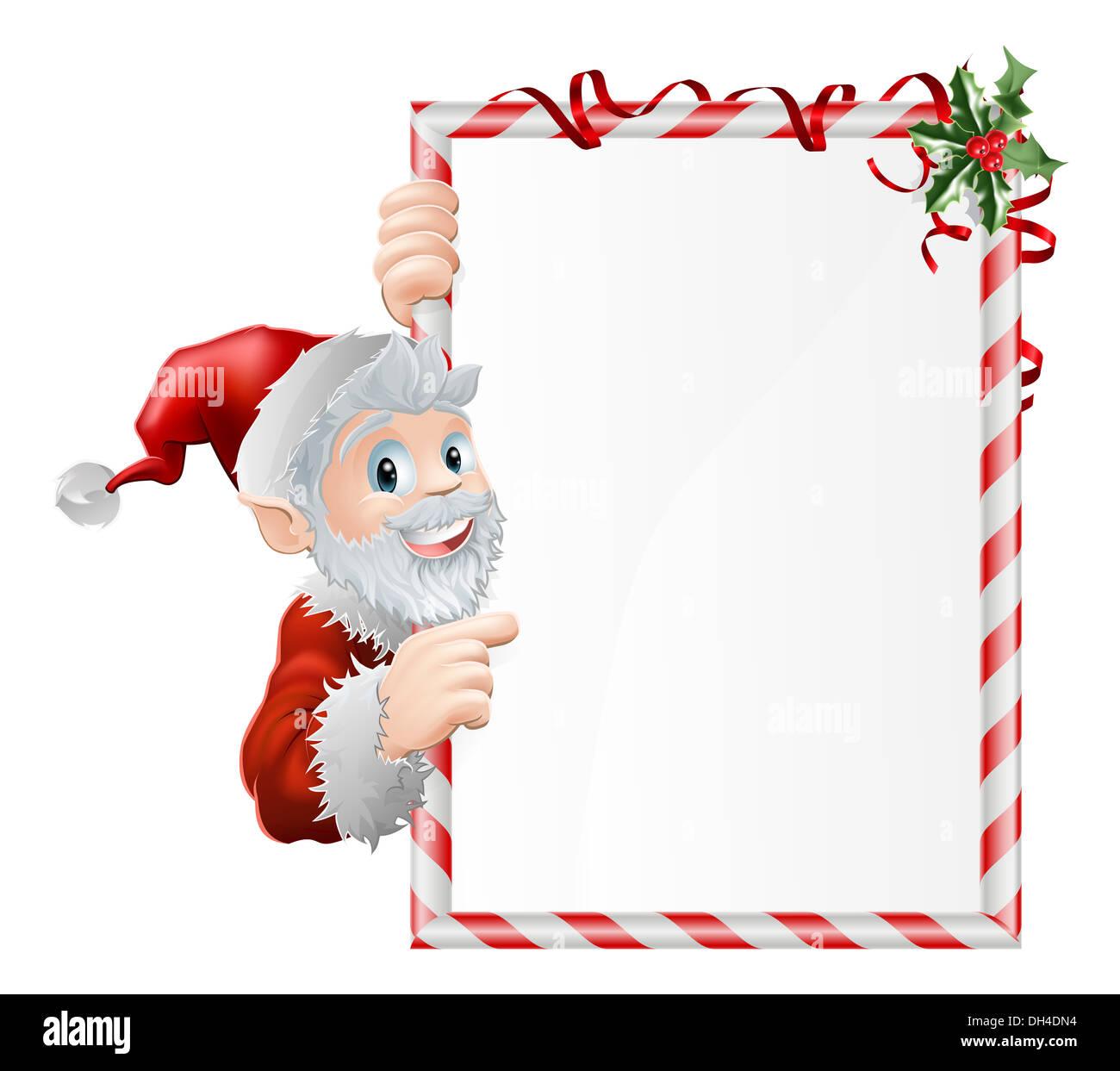santa cartoon xmas sign graphic with santa claus pointing at the