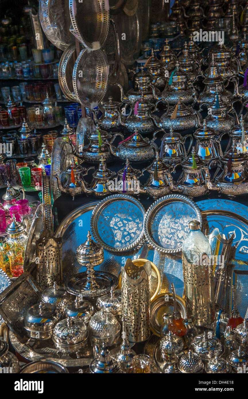 traditional moroccan teapots - Stock Image