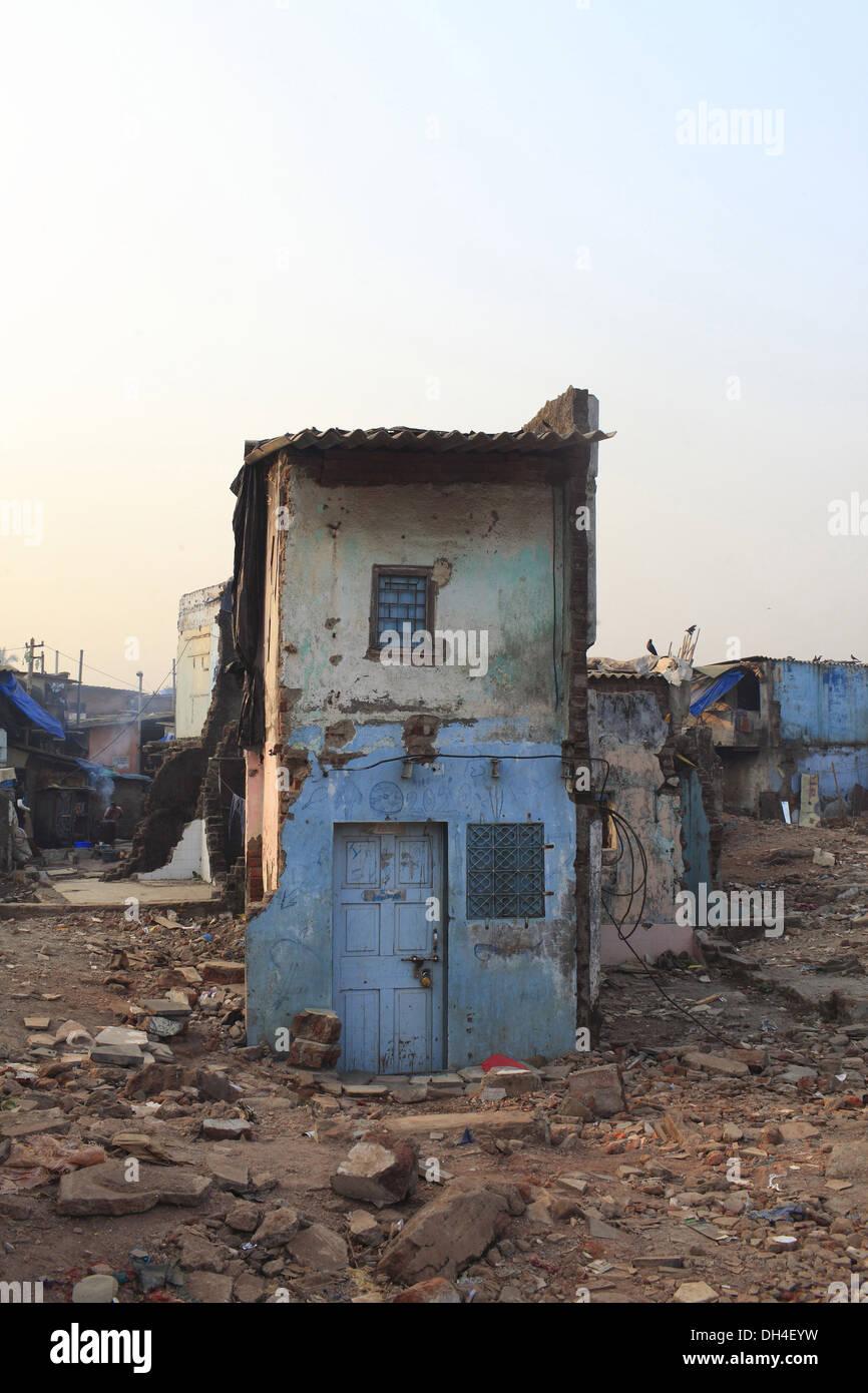 Demolished house Khar Golibar slum Mumbai India - Stock Image