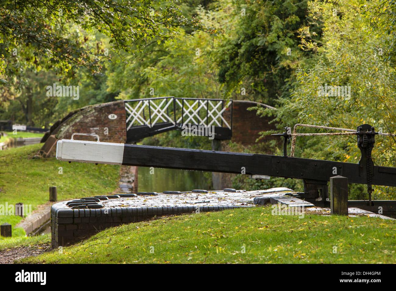 Early autumn on the Stratford upon Avon Canal, Lapworth, Warwickshire, England, UK - Stock Image