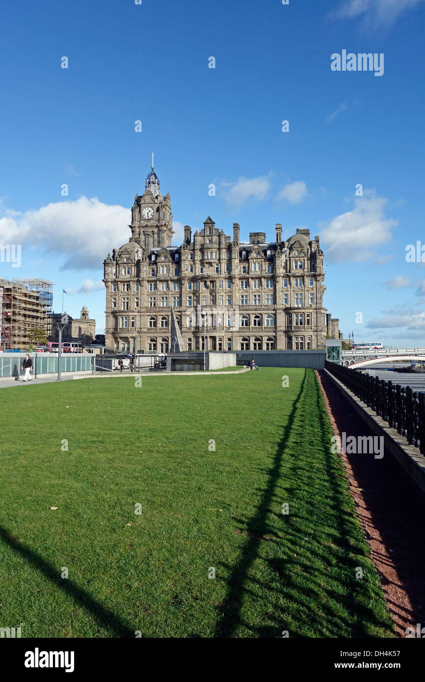 The Balmoral hotel and Princes Mall in central Edinburgh Scotland - Stock Image