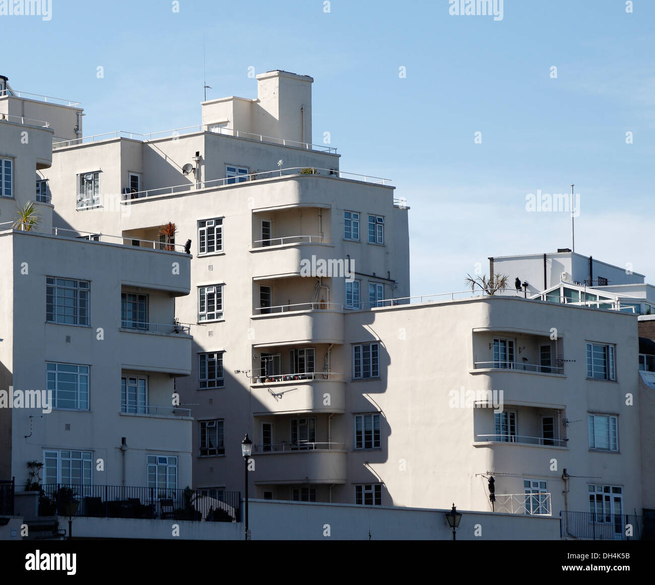 1930s style seafront flats Cowes, Isle of Wight, Hampshire, England - Stock Image