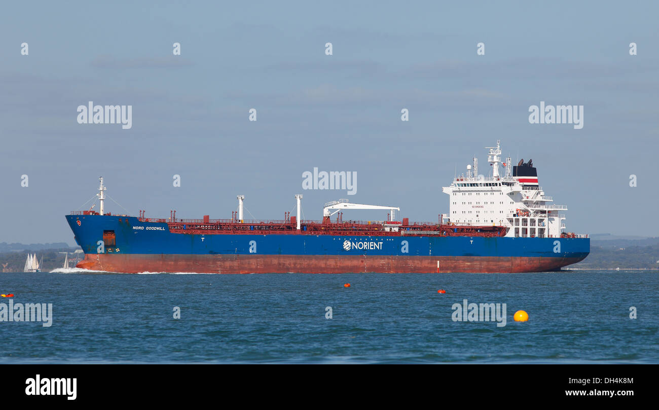 Empty tanker Nord Goodwill in Solent waterway Cowes, Isle of Wight, Hampshire, England - Stock Image