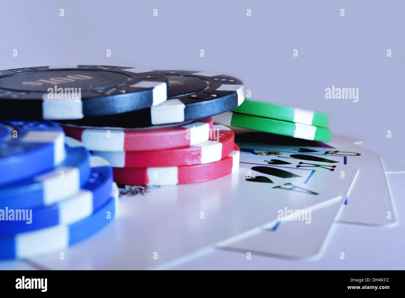 Poker Chips With Royal Flush Cards - Stock Image