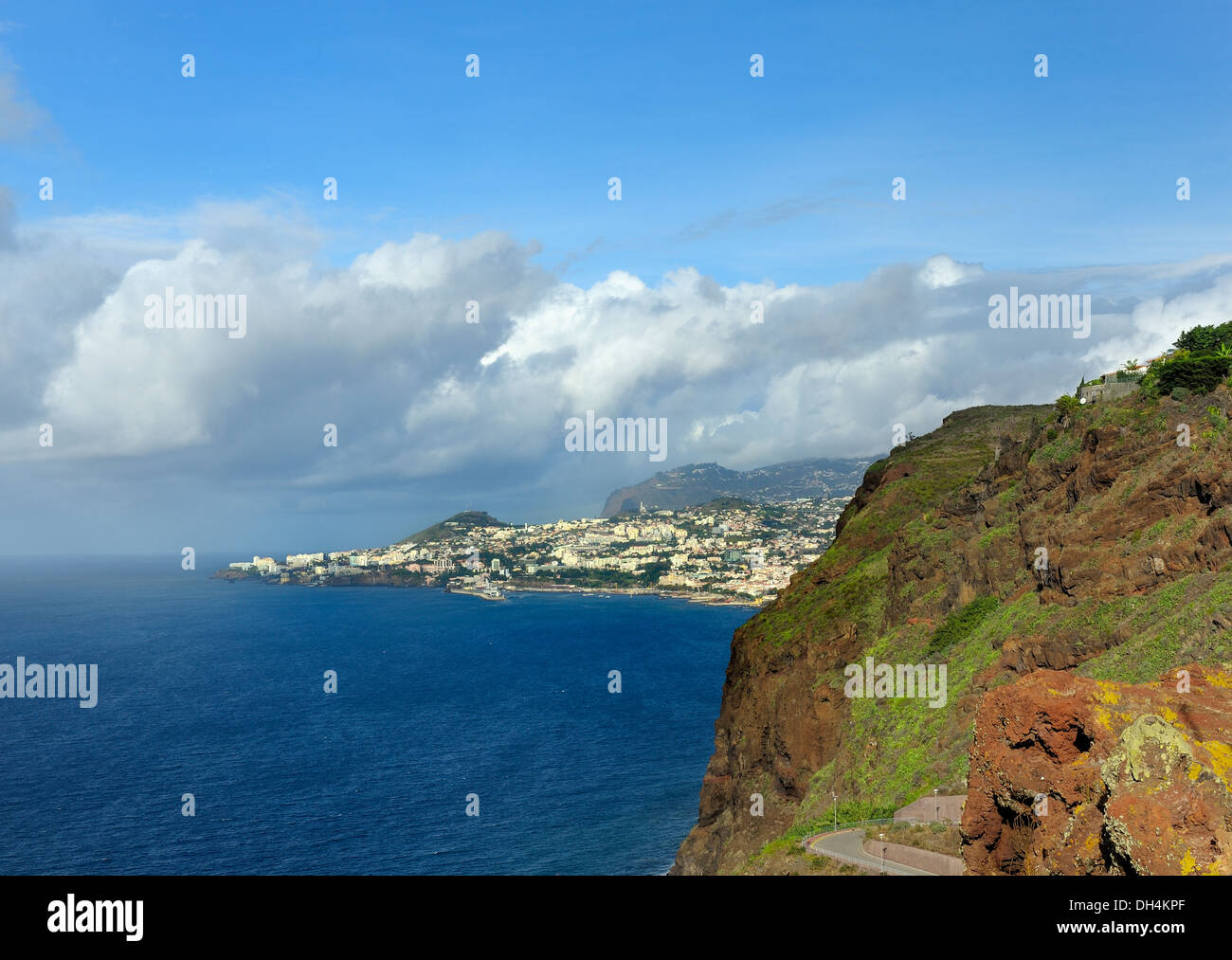 The island of Madeira with the capital city Funchal in the distance - Stock Image
