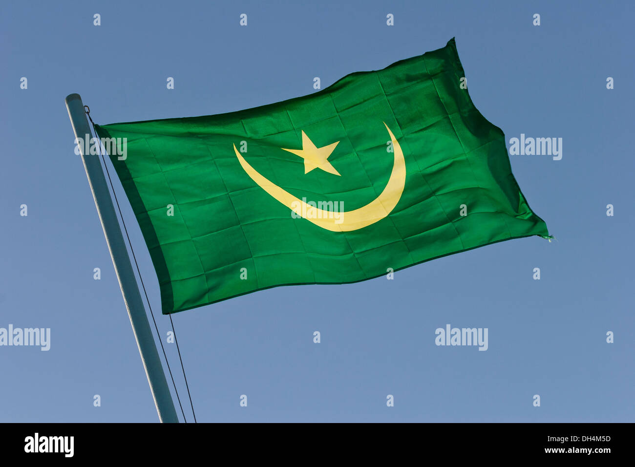 National flag of Mauritania, North West Africa - Stock Image