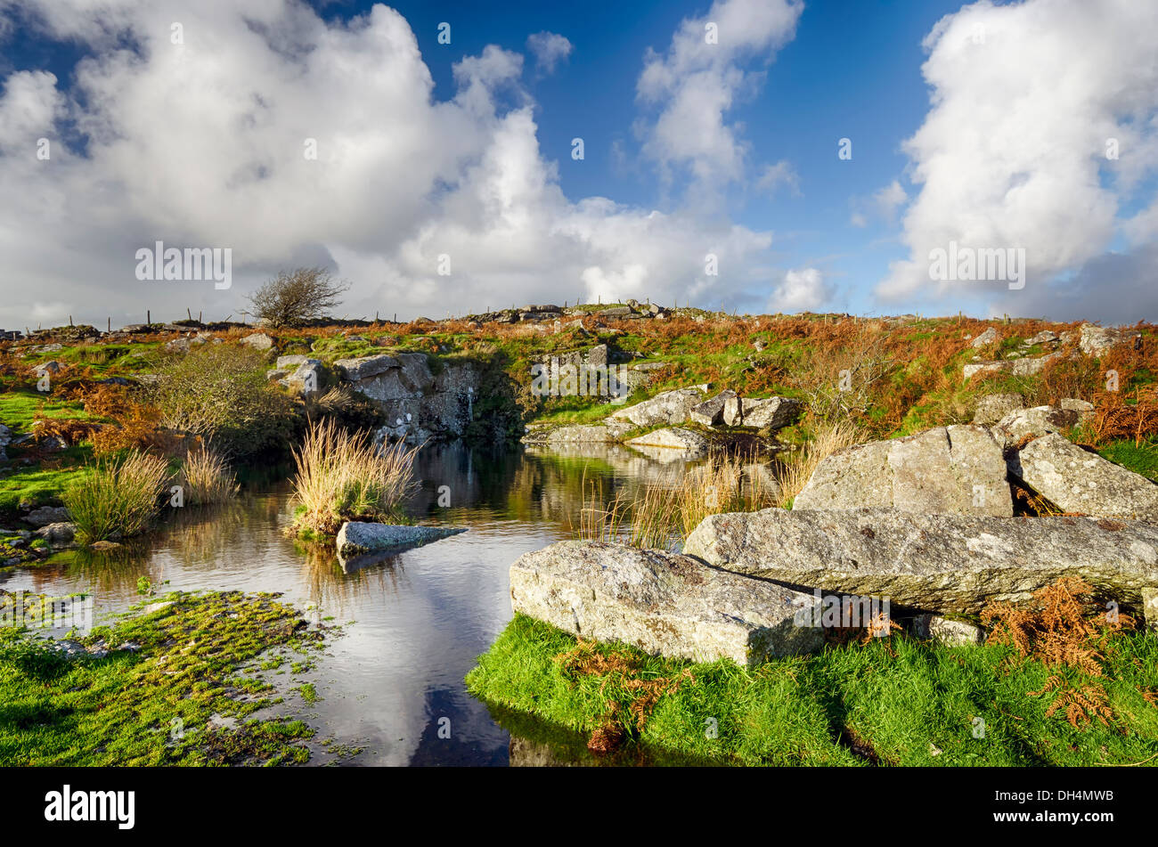 Carbilly Quarry on Bodmin Moor in Cornwall - Stock Image