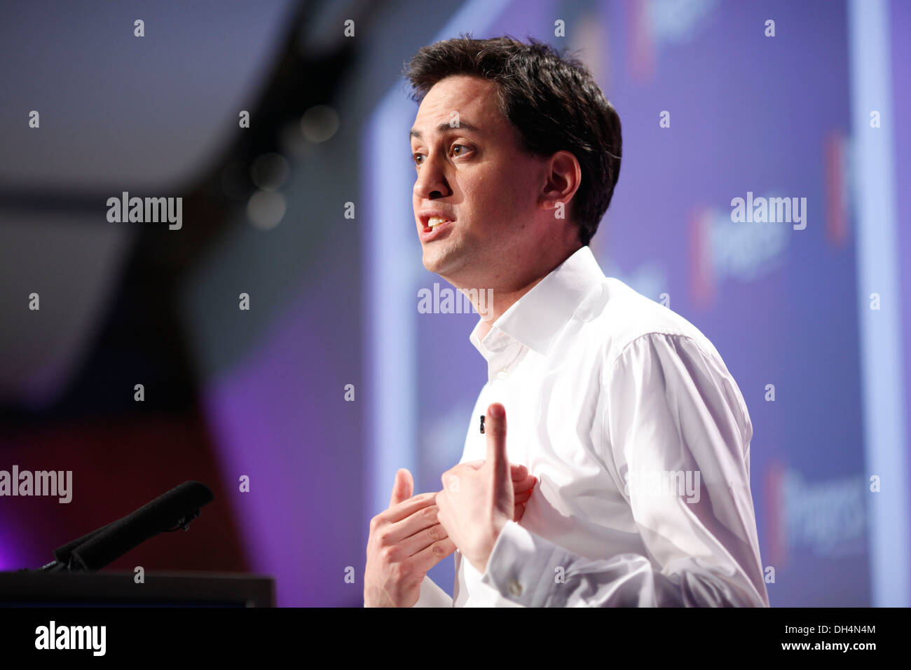 Labour Party leader Ed Miliband delivers keynote address at meeting of independent organisation for Labour Party members and tra - Stock Image
