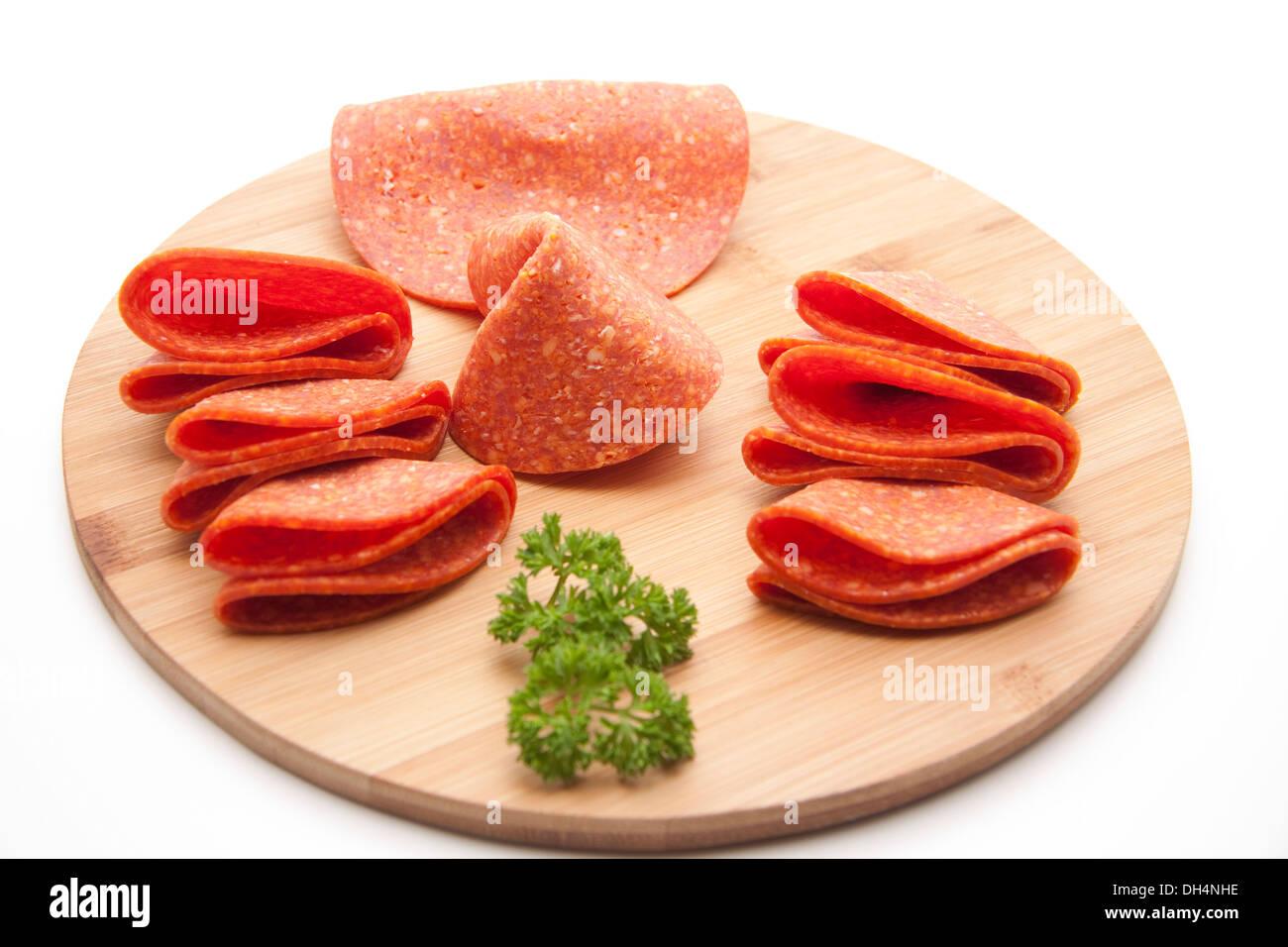 Fresh turkeys salami - Stock Image