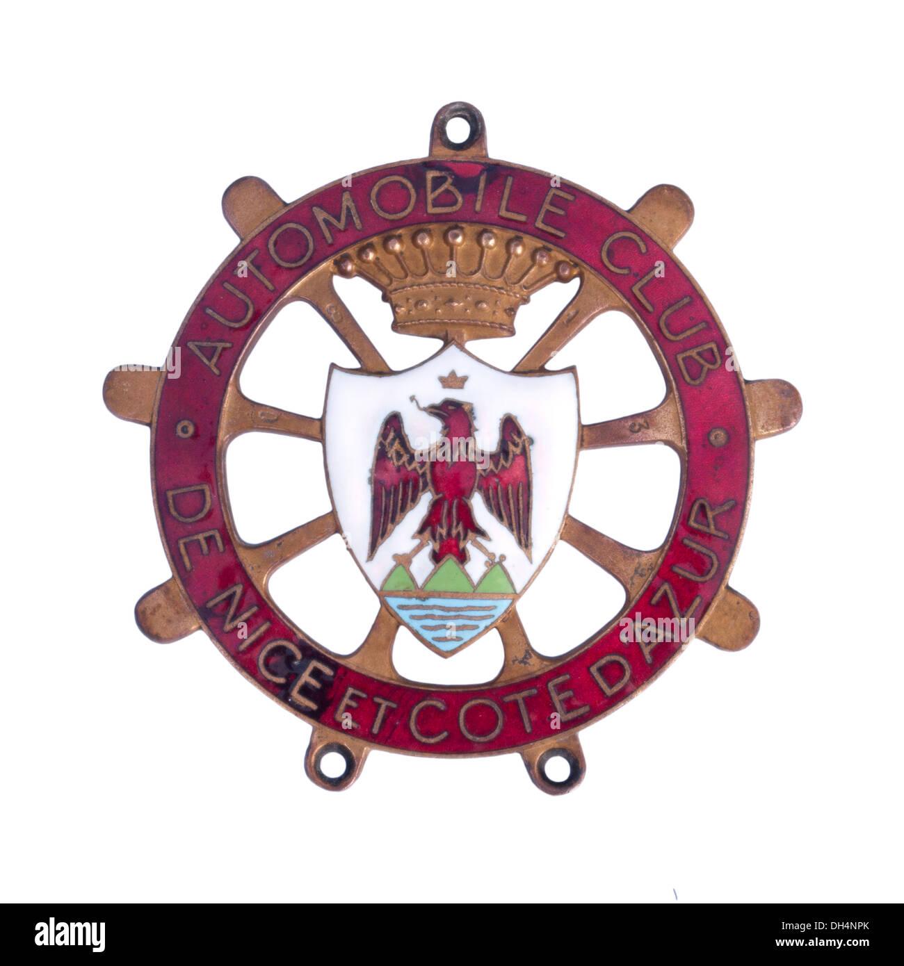 Automobile Club De Nice Et Cote D'Azure Metal Car Badge - Stock Image