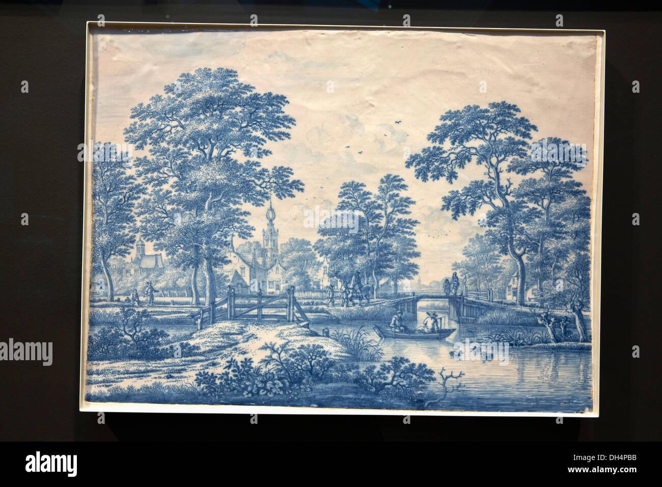 Netherlands, Amsterdam, Rijksmuseum. Delft's Blue tin-glazed earthenware ( faience ).View of Overschie near Rotterdam - Stock Image