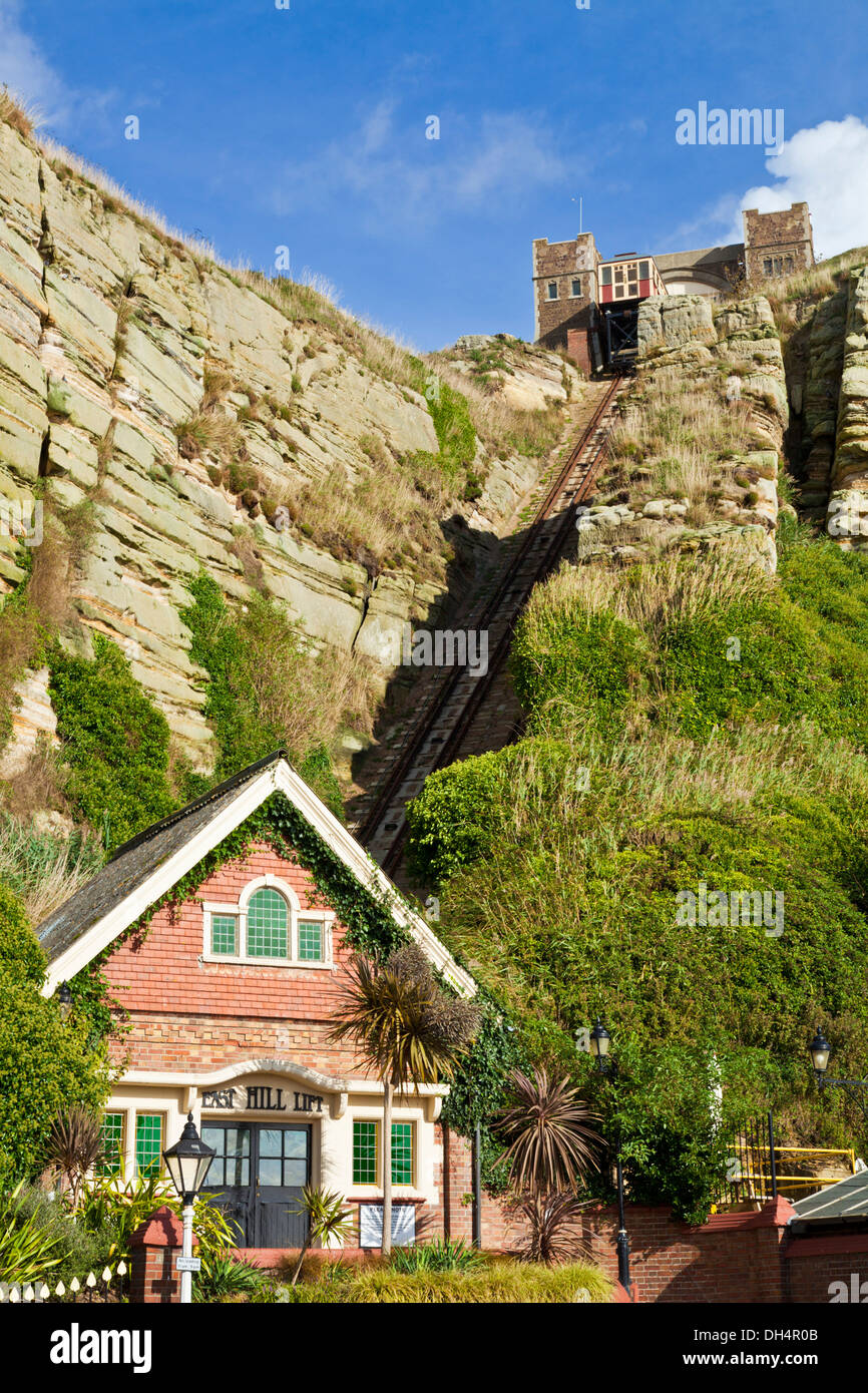 East Hill Cliff Railway  East Hill Lift Funicular cliff beach railway at Hastings East Sussex England GB UK EU Europe - Stock Image