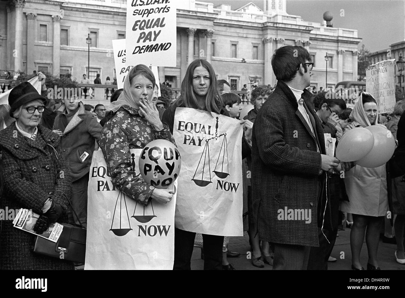 Womens Rights. Trade Union Demonstration for  Equal Pay for Women. USDAW Rally Trafalgar Square London England 1968. 1960s HOMER SYKES - Stock Image