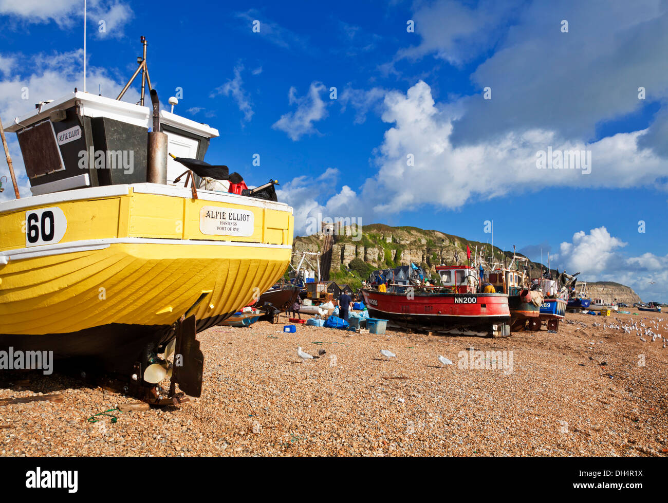 Fishing boats pulled up on the beach at Hastings East Sussex England GB UK EU Europe - Stock Image