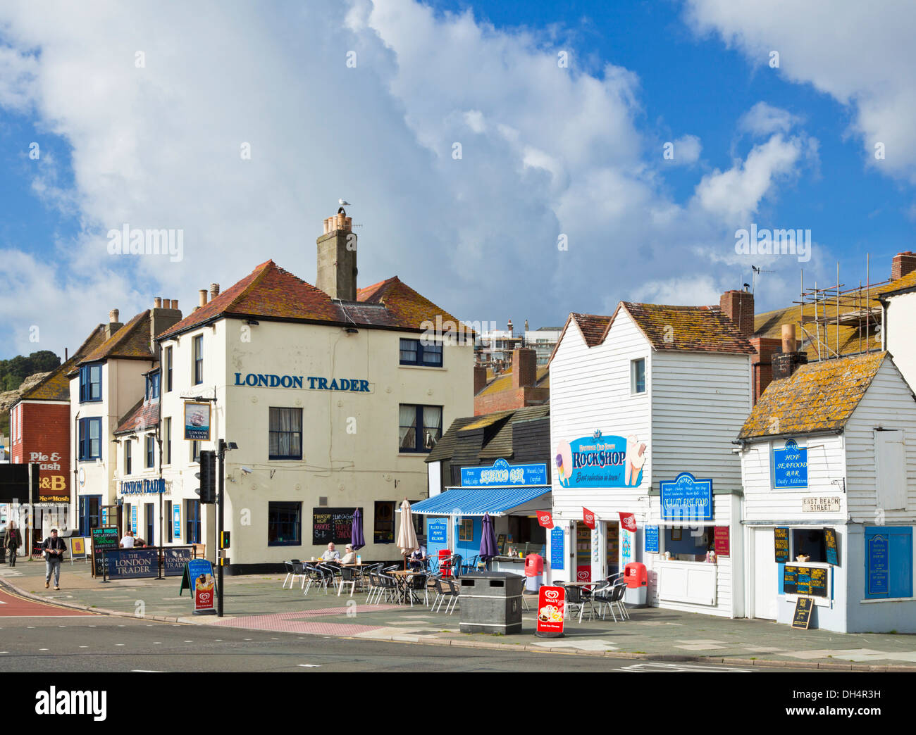 Seafood bar shop cafe on Hastings old town East Sussex England UK GB EU Europe - Stock Image