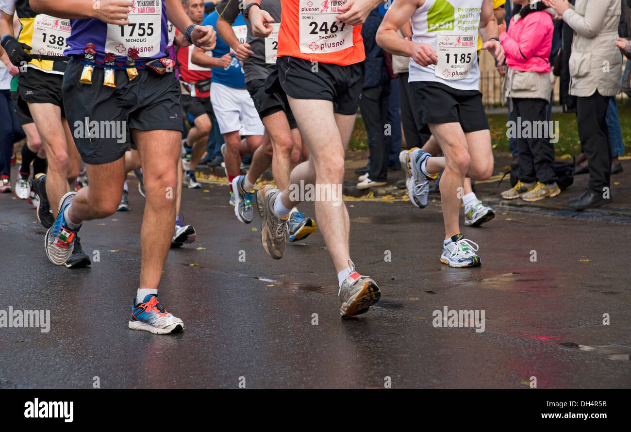 Runners in the Yorkshire Marathon York North Yorkshire England UK United Kingdom GB Great Britain - Stock Image