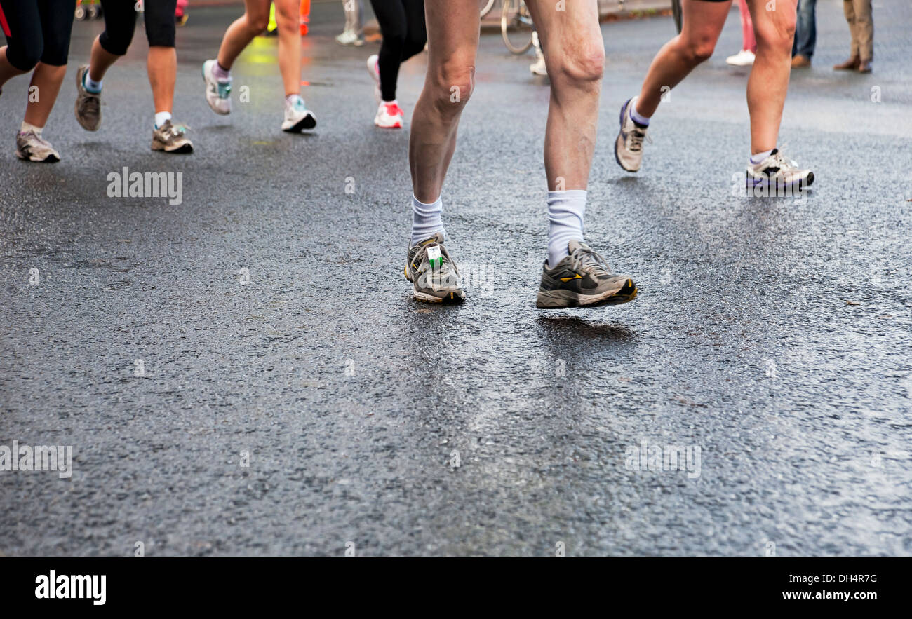 Detail of runners' feet in marathon York North Yorkshire England UK United Kingdom GB Great Britain - Stock Image