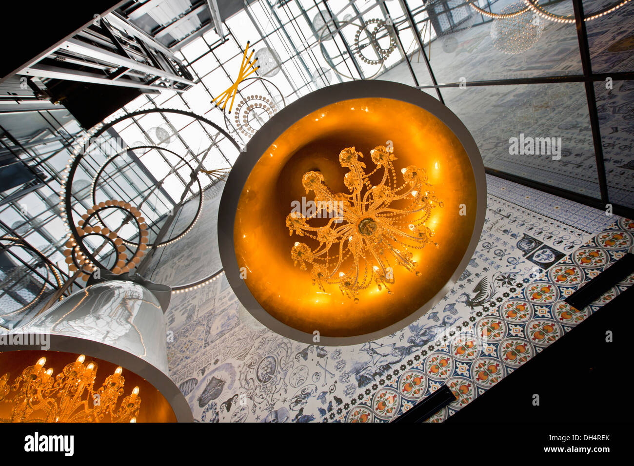 Netherlands, Amsterdam, Reception of hotel ANDAZ, designed by local architect and designer Marcel Wanders - Stock Image