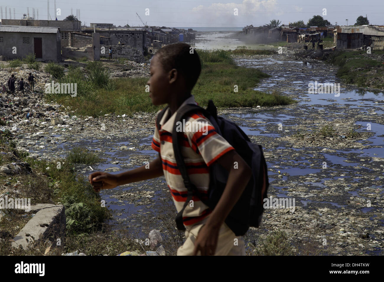 Canal with raw sewage in Port-au-Prince, Haiti - Stock Image