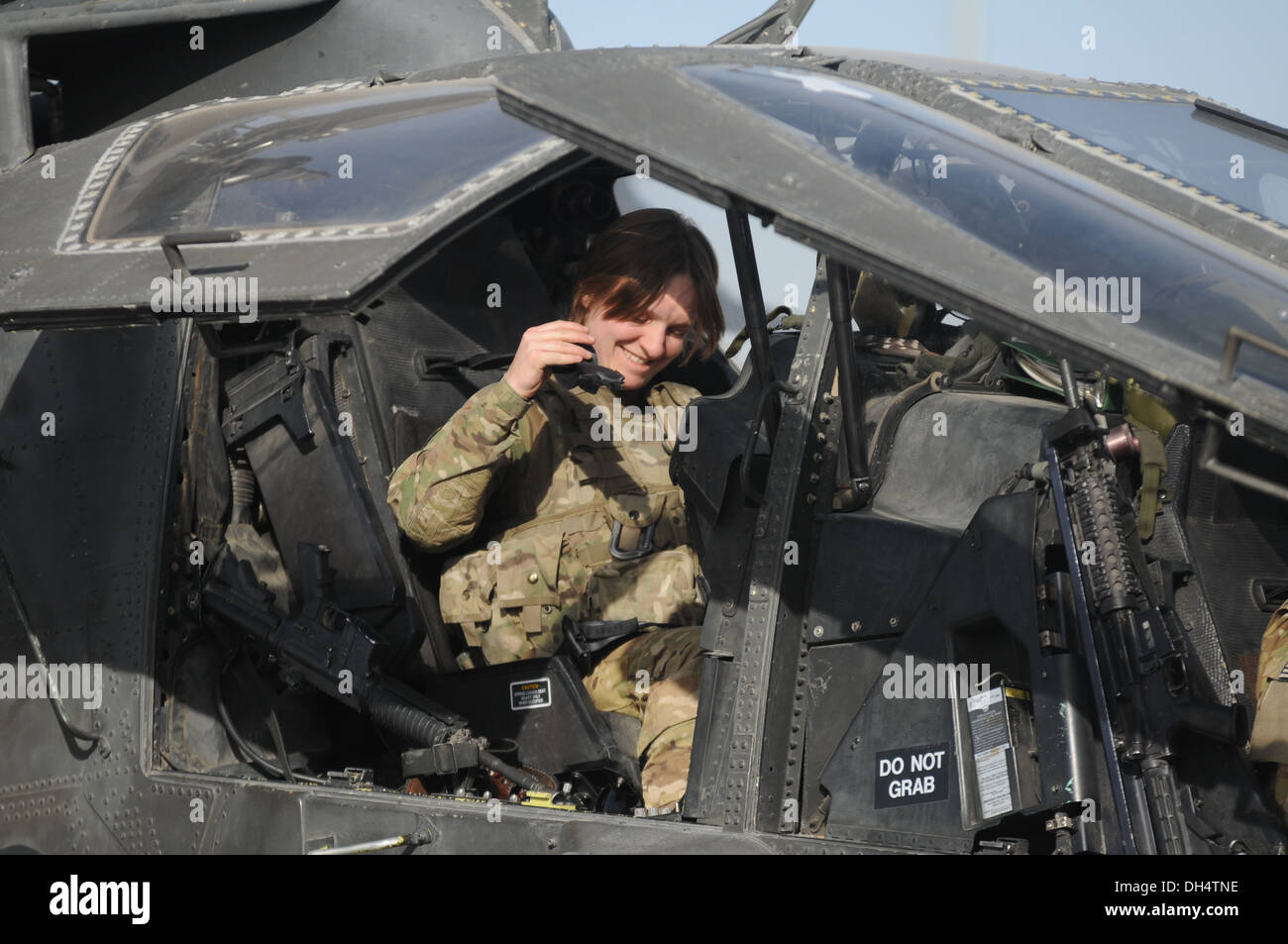 Chief Warrant Officer 2 Amanda Combs, an AH-64 Apache helicopter pilot serving under 2nd Battalion (Assault), 10th Combat Aviati - Stock Image