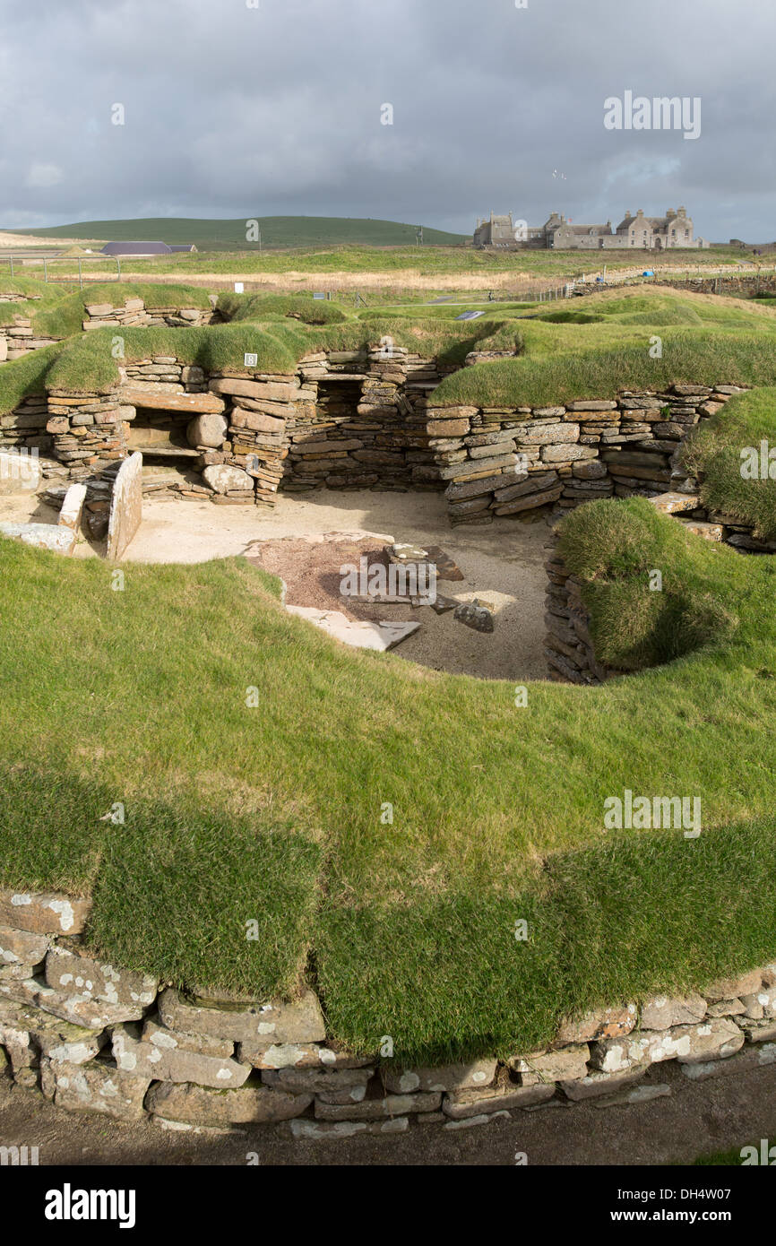 Islands of Orkney, Scotland. Picturesque view of the Neolithic settlement at Skara Brae. Stock Photo
