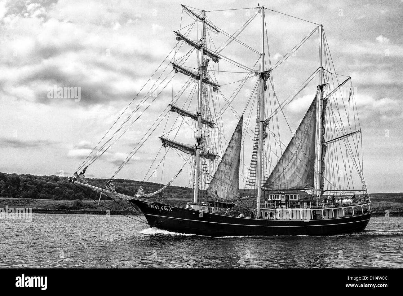 Tall Ship Thalassa in the Sound Of Mull - Stock Image
