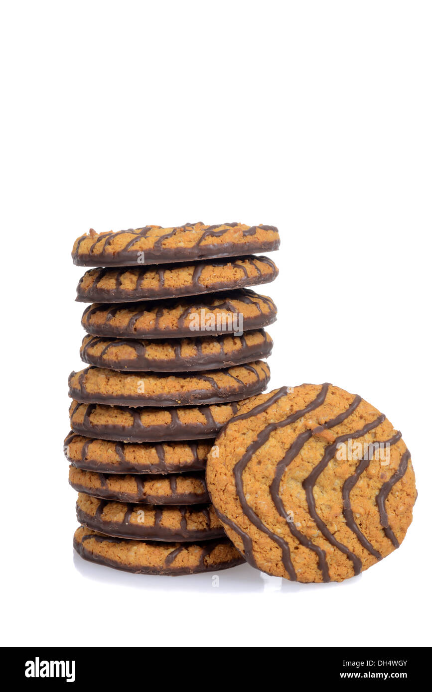 stack chocolate cookies - Stock Image