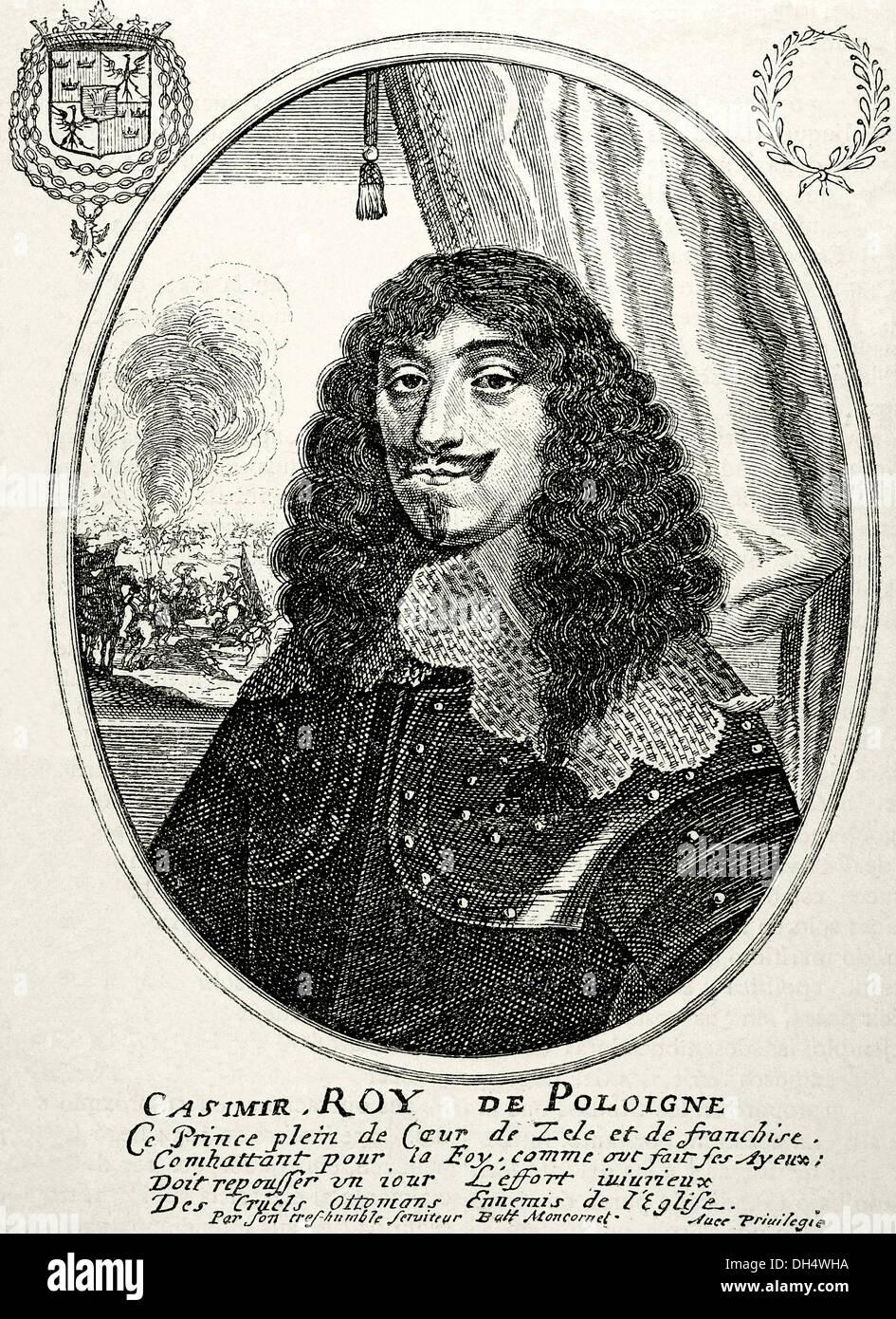John II Casimir, King of Poland (1609-1672). Engraving by B. Moncornet 'Historia Universal', 1885. - Stock Image