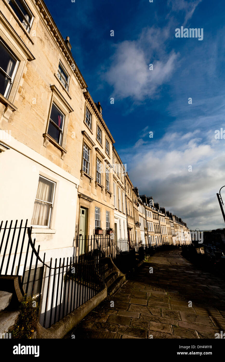 A row of houses in a Georgian Terrace in Bath, UK. - Stock Image