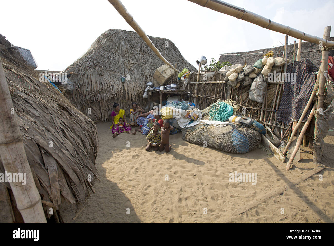 Tribal houses, fisherman village near Puri, Orissa, India - Stock Image