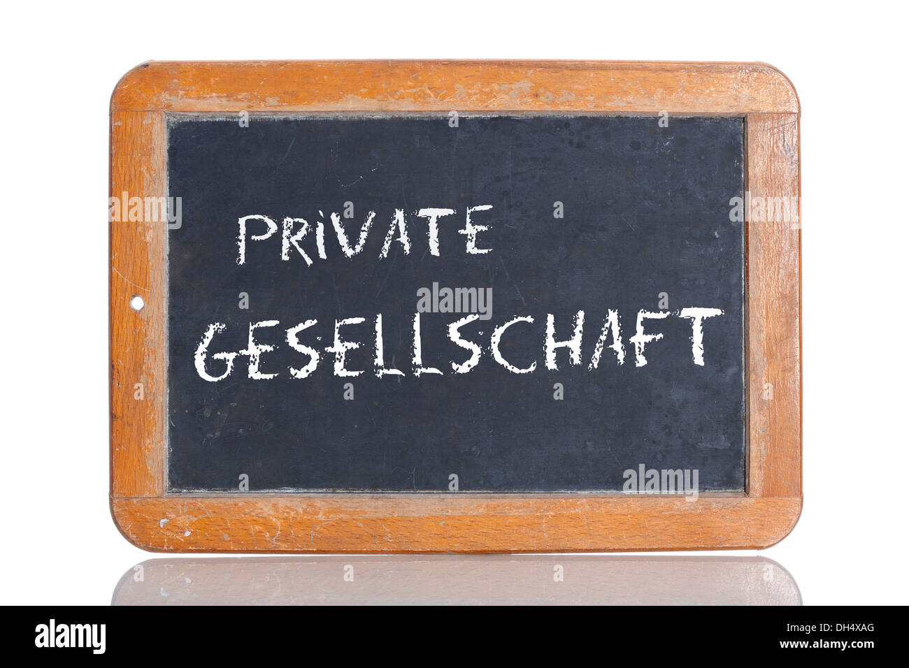 Old chalkboard, lettering 'PRIVATE GESELLSCHAFT', German for 'PRIVATE FUNCTION' - Stock Image