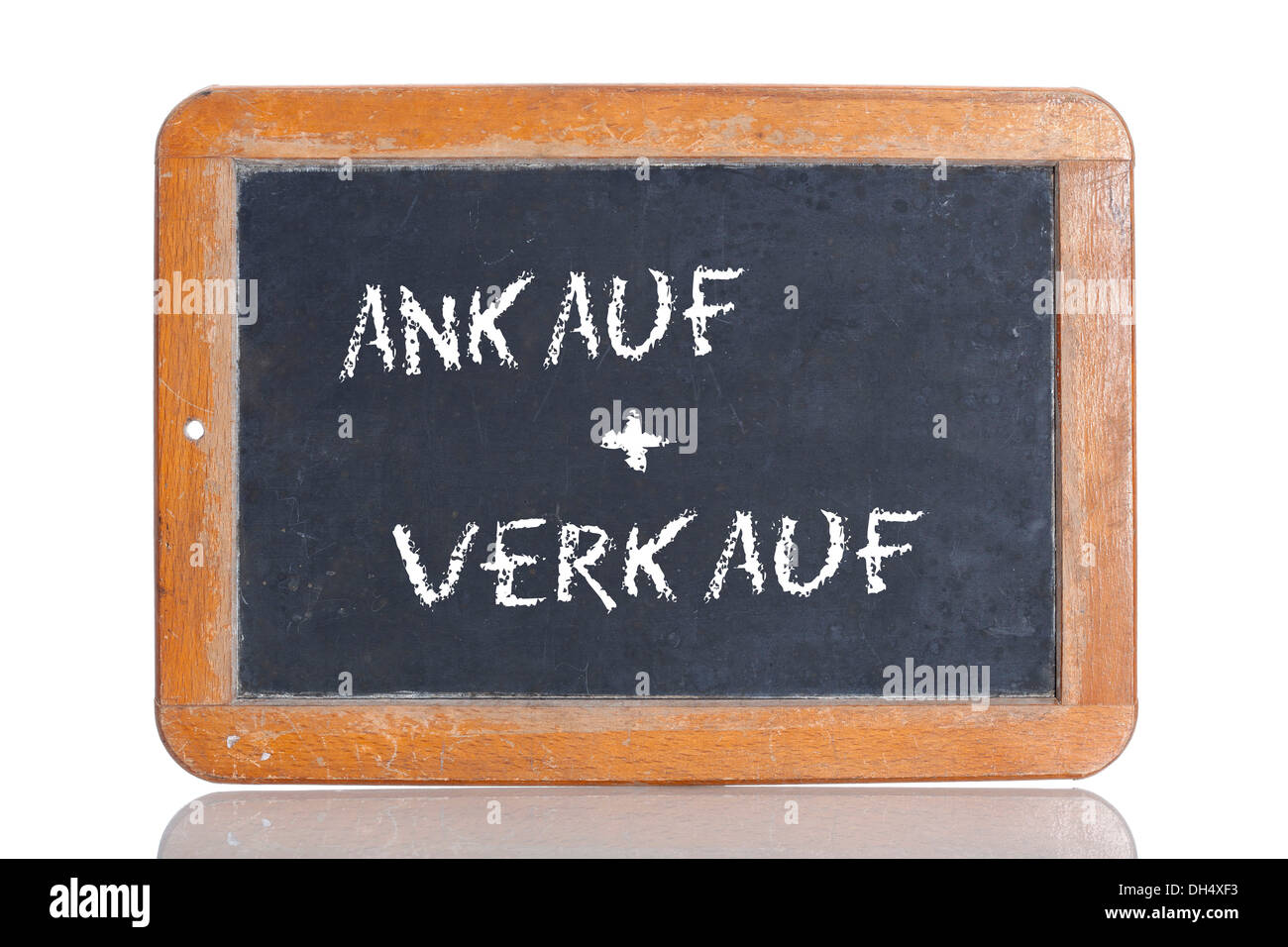 Old school blackboard with the words ANKAUF + VERKAUF, German for Buy + Sell - Stock Image
