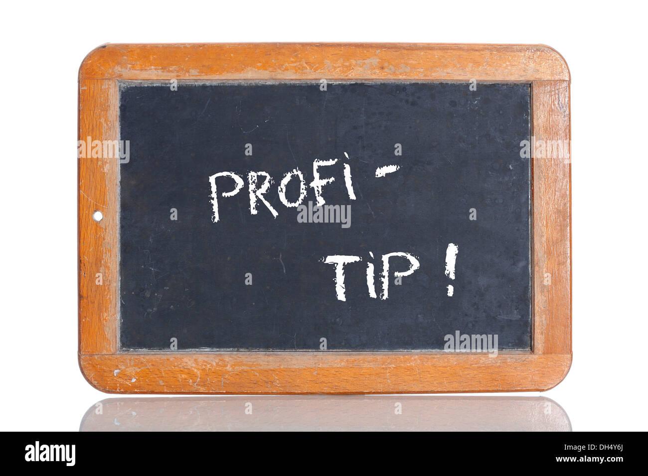 Old school blackboard with the term PROFI-TIPP - Stock Image