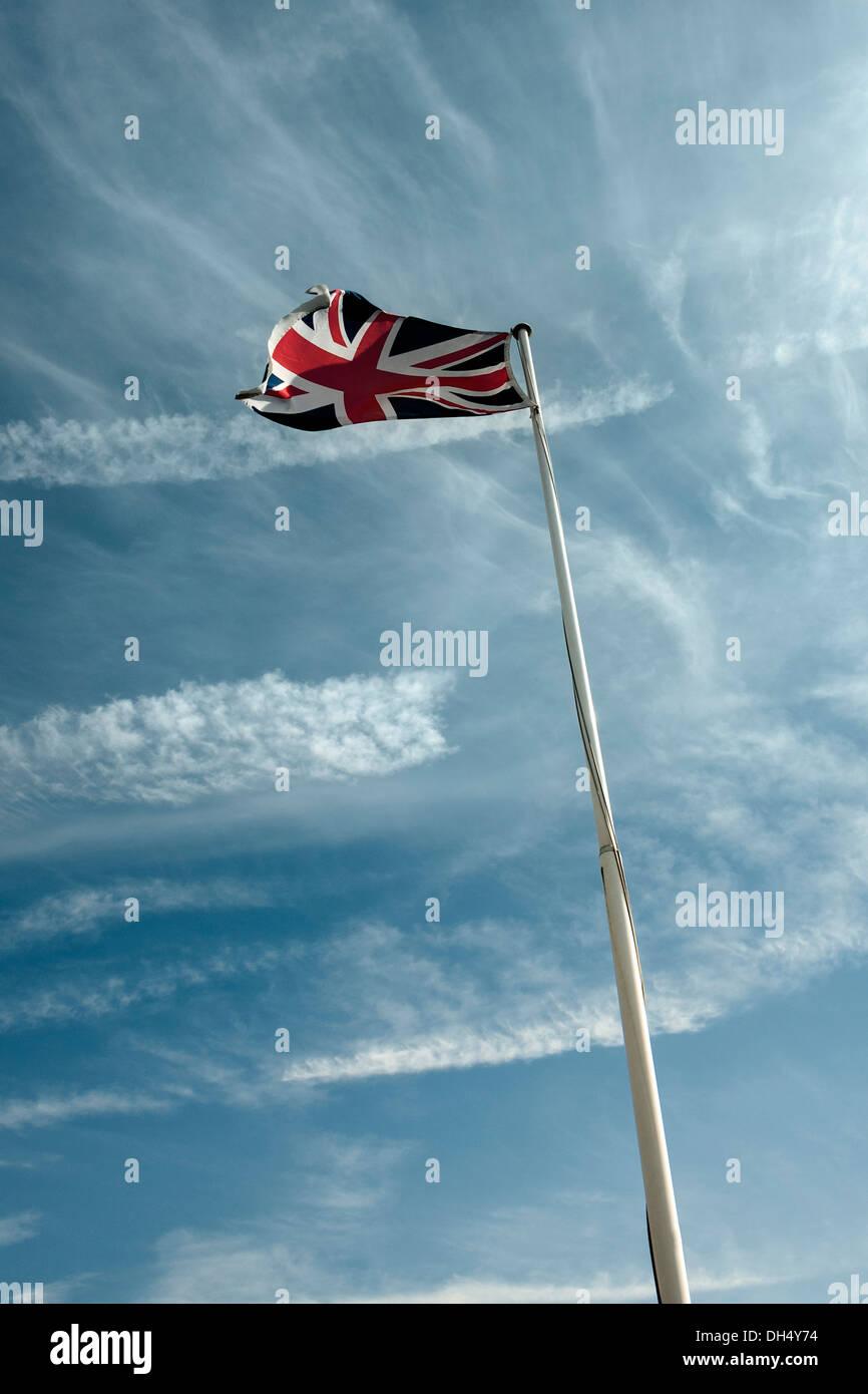 Union Jack-Flagpole. - Stock Image