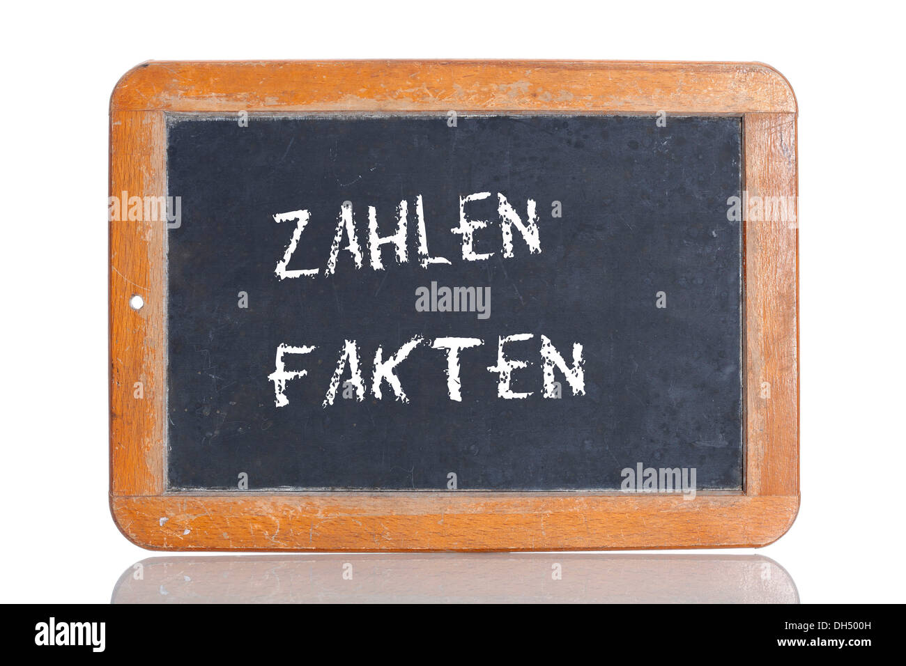 Old school blackboard with the term ZAHLEN FAKTEN, German for figures and facts - Stock Image