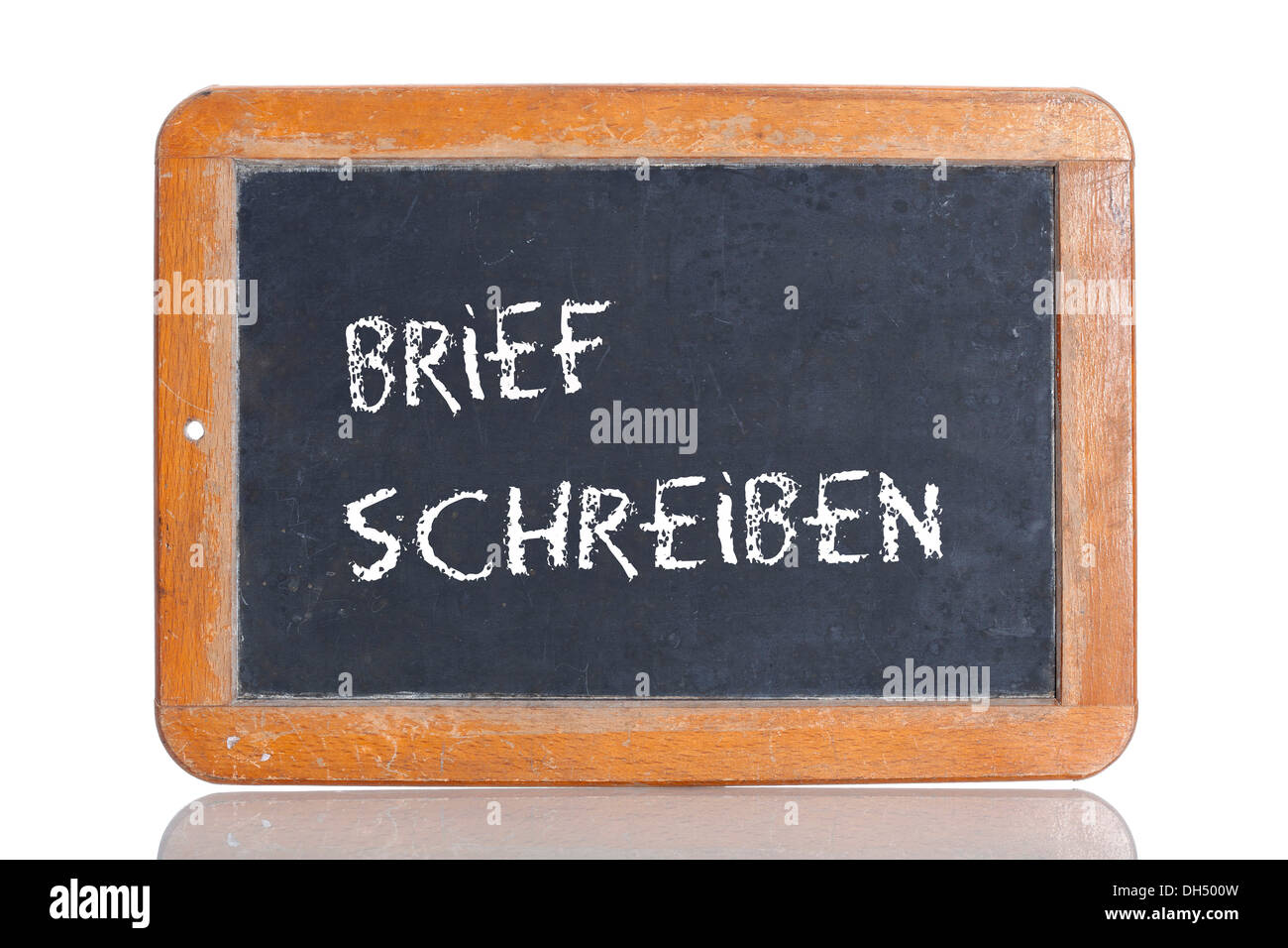 Old chalkboard, lettering 'BRIEF SCHREIBEN', German for 'WRITE A LETTER' - Stock Image