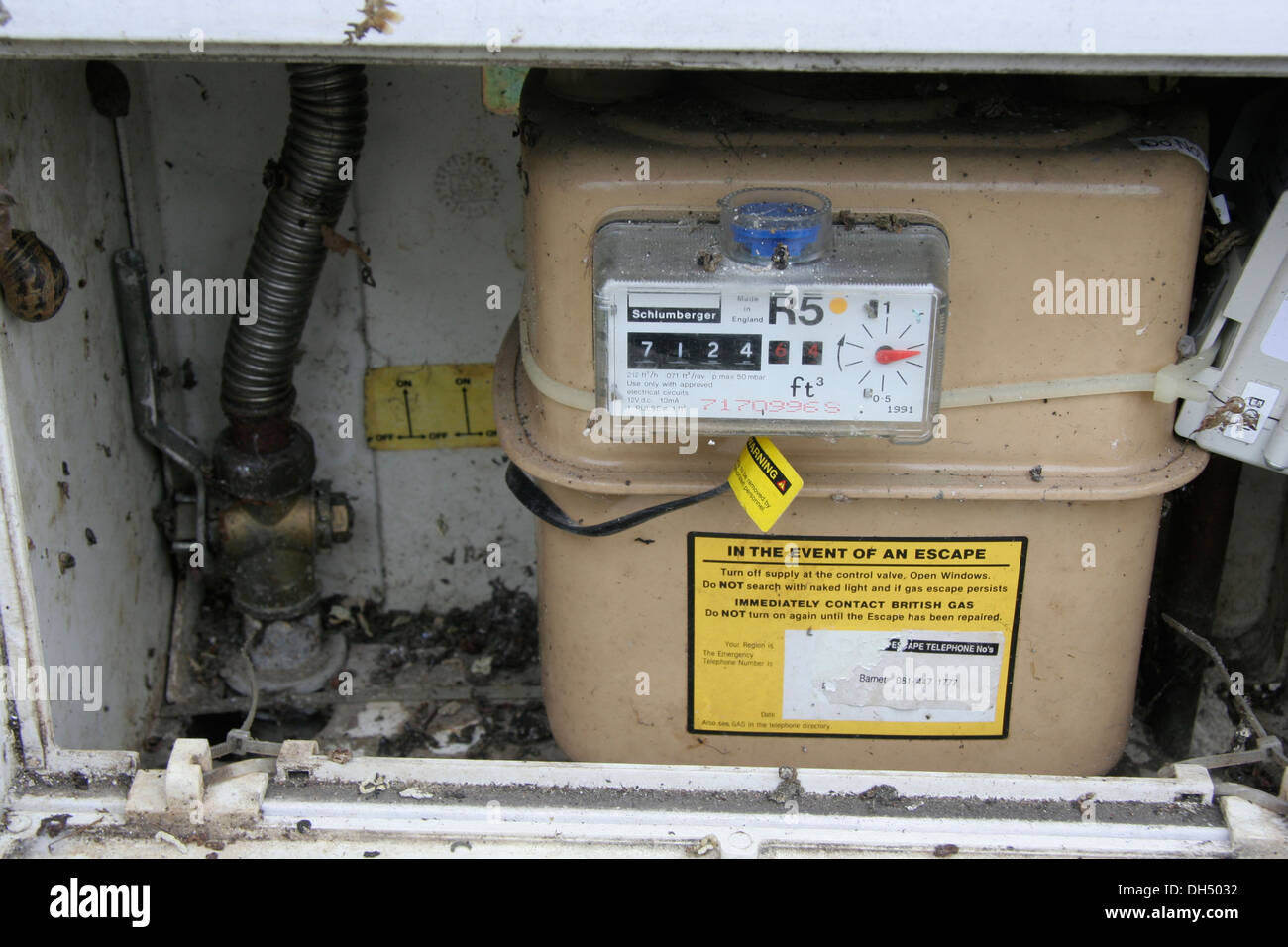 A uk gas meter opened and ready to be read - Stock Image
