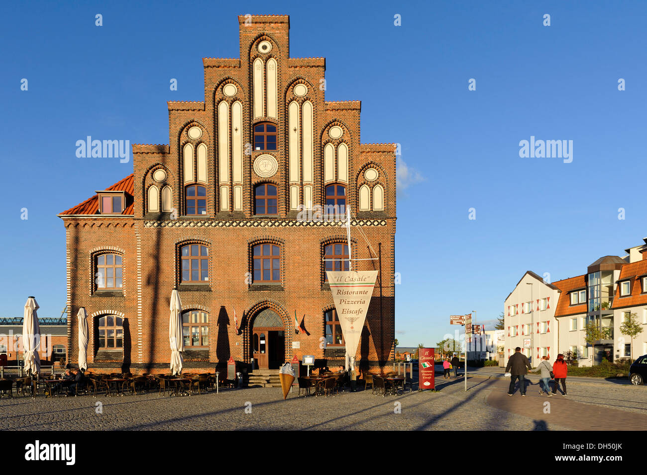 Restaurant in the Old Customs House,  Hanseatic city of Wismar, Mecklenburg-Hither Pomerania,  Germany, UNESCO-world heritage - Stock Image