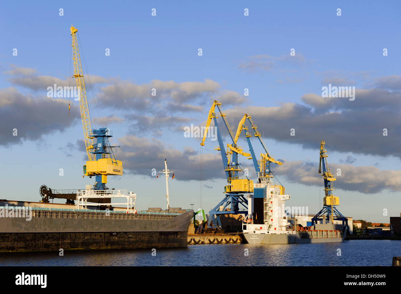 overseas-port  in the Hanseatic city of Wismar, Mecklenburg-Hither Pomerania,  Germany - Stock Image