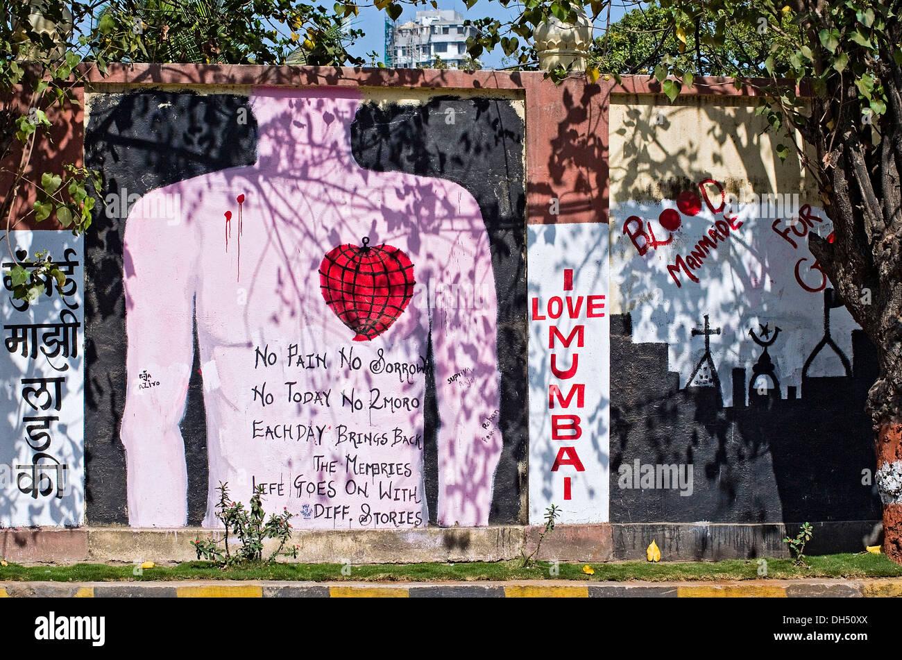 Wall painting about the terrorist attacks on 26.11.2008, Mumbai, India, Asia - Stock Image
