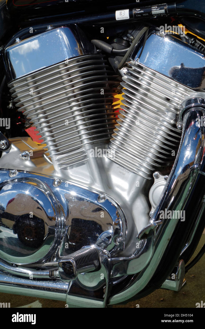 V-twin engine of a Suzuki motorcycle. - Stock Image