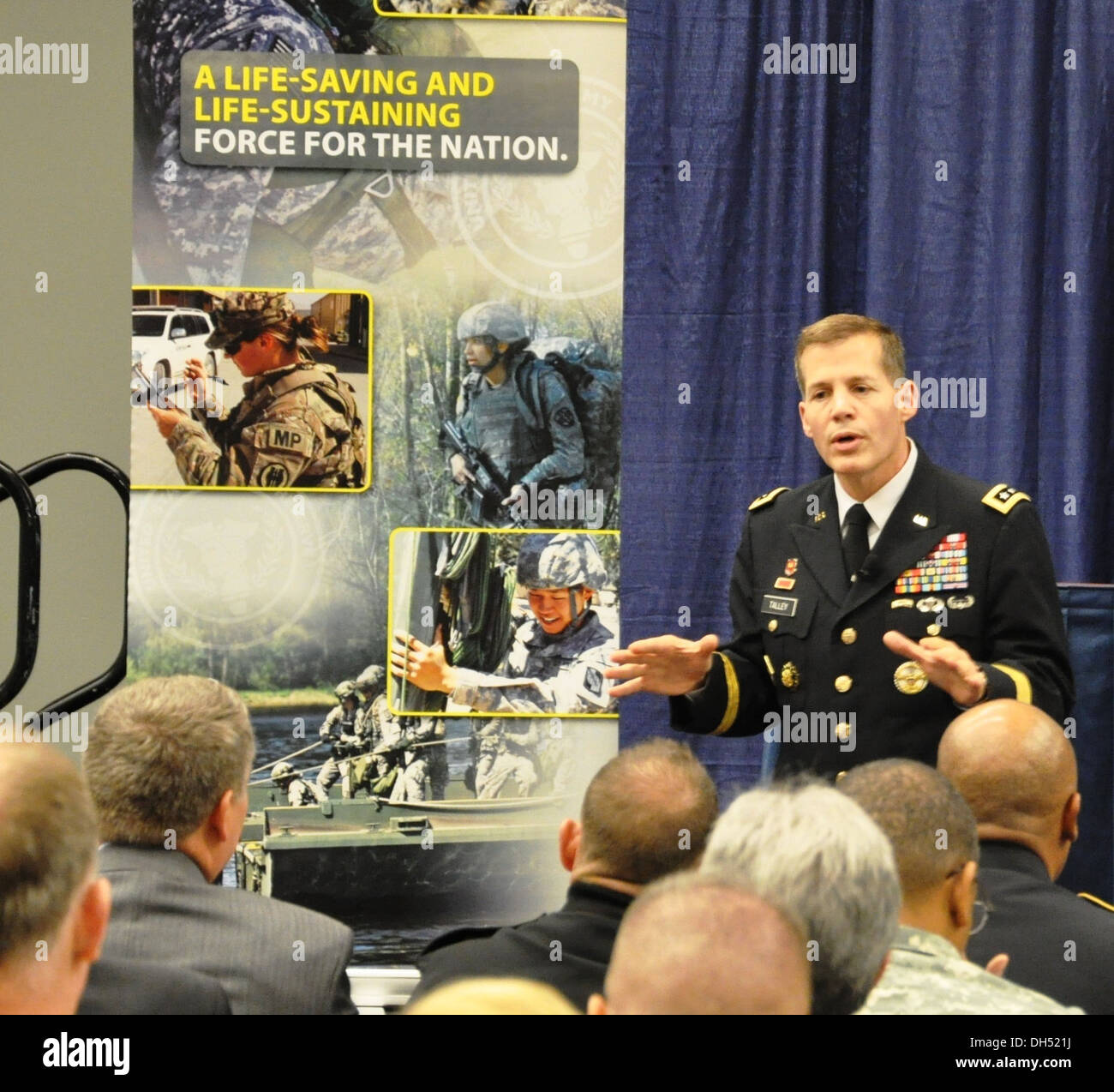 Lt. Gen. Jeffrey Talley speaks during the Association of the United States Annual Meeting and Convention in Washington, DC Tuesday. Talley discussed his priorities as chief of Army Reserve and commanding general US Army Reserve Command as well as new init - Stock Image