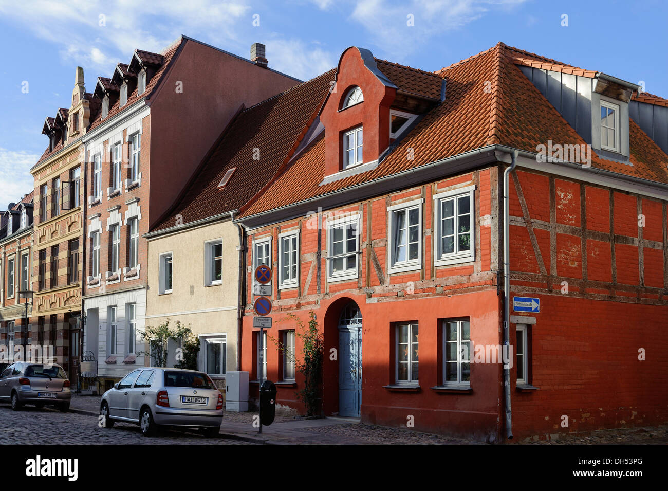 Old houses in the Hanseatic city of Wismar, Mecklenburg-Hither Pomerania,  Germany, UNESCO-world heritage - Stock Image
