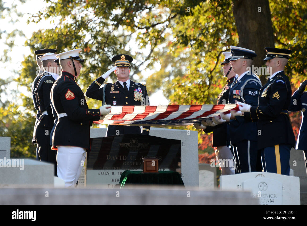 U.S. Service members of the Honor Guard participate in the funeral of Gen. David C. Jones, former Chairman of the Joint Chiefs of Staff, at Arlington Cemetery in Arlington, Va., Oct. 25, 2013. - Stock Image