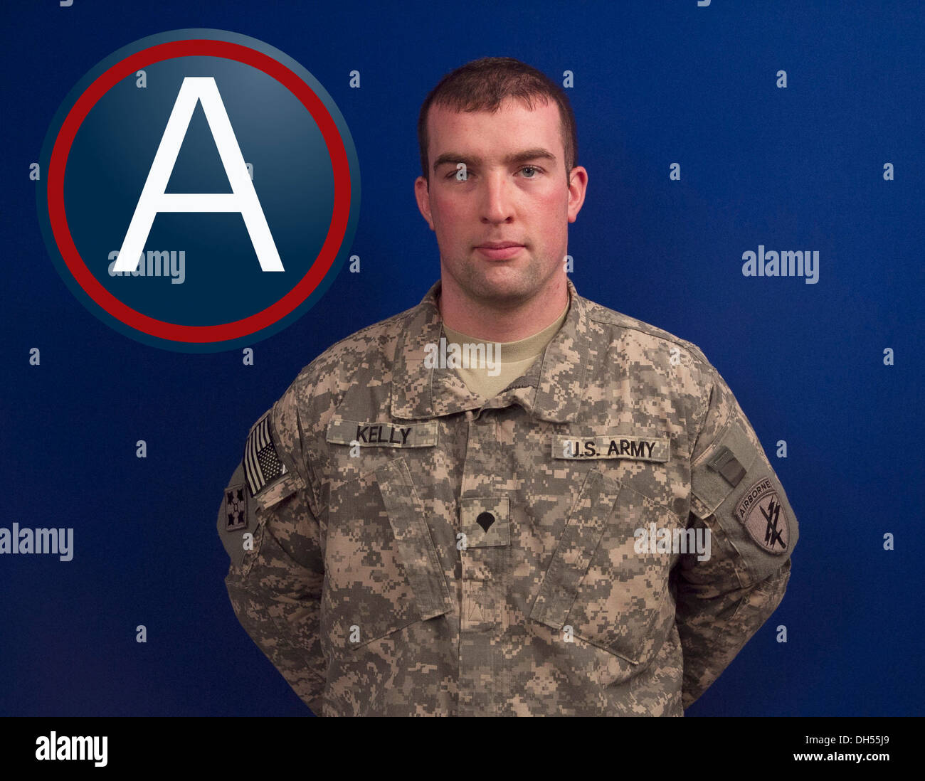 Spc. Liam P. Kelly, civil affairs specialist with the U.S. Army Central Strategy and Effects is this week's Third Army Soldier of the Week. - Stock Image