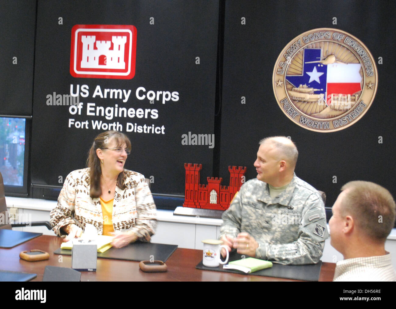 Deborah J. Schilling Tuesday visited the Fort Worth District, U.S. Army Corps of Engineers, to meet with Col. Charles H. Klinge, Commander, and District leadership that supports U.S. Customs and Border Protection. Schilling is CBP's chief financial office - Stock Image